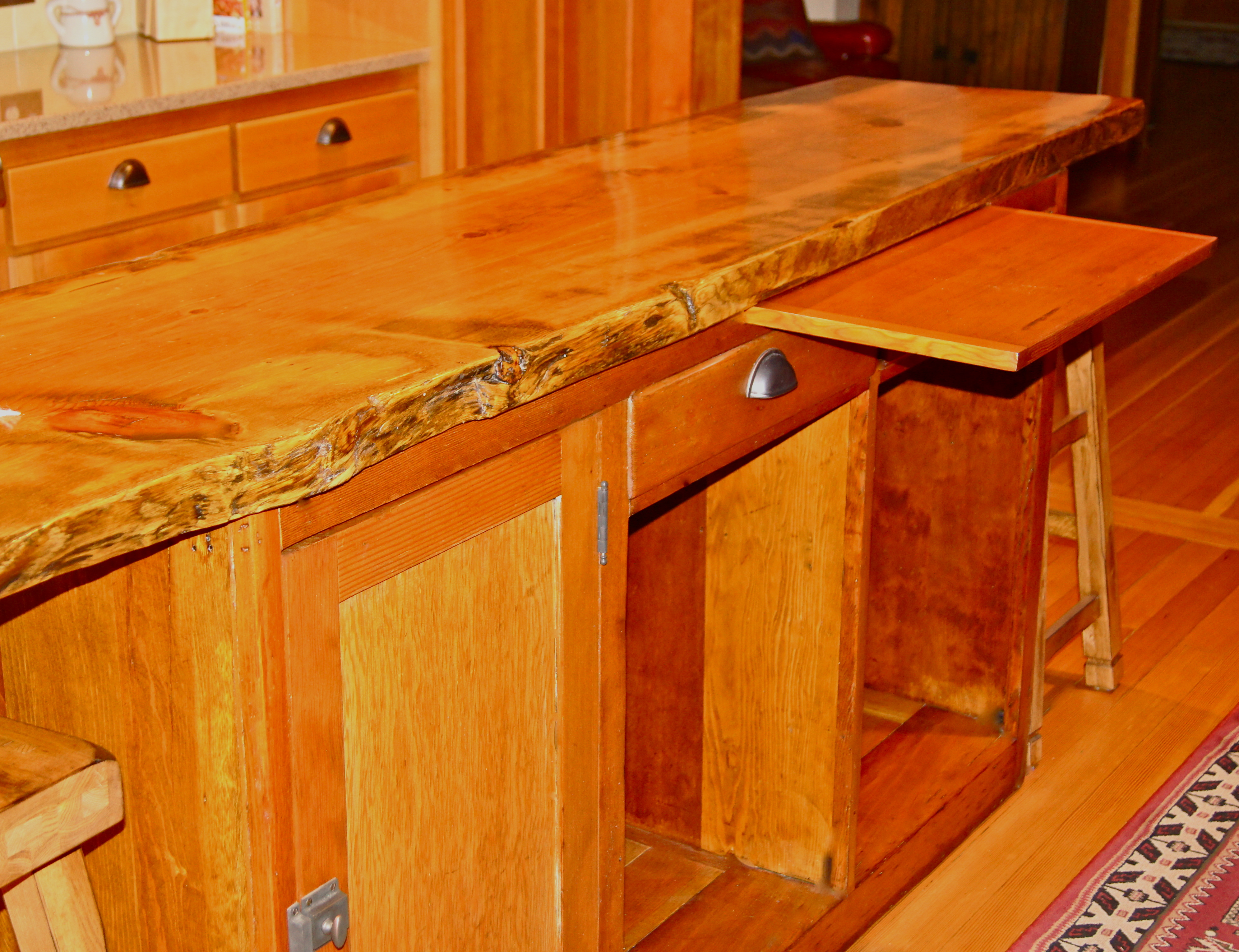 but first i want to show you one of the original  red fir cupboards with the breadboard still intact when mom remodeled the kitchen in  taking out : stand kitchen dsc
